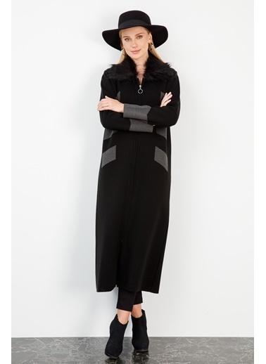 Butik Triko 2738 Uzun Kürklü Pardesü Siyah